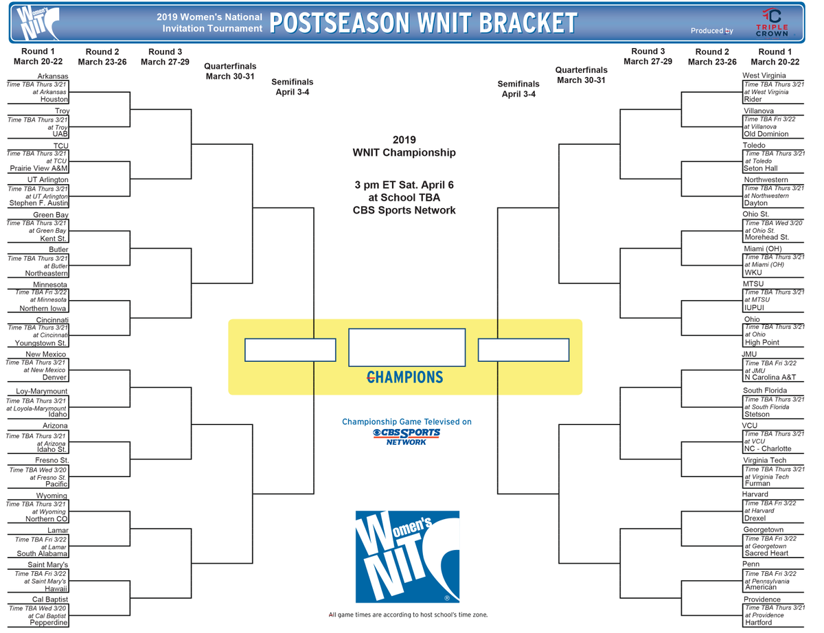 picture regarding Nit Bracket Printable identified as WNIT upon Twitter: \