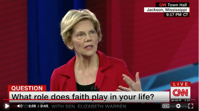 """My faith tells me to speak up for the least of these.   Really appreciated Senator Warren's discussion of faith here -- """"I believe we are called on to act.""""   https://www.cnn.com/politics/live-news/elizabeth-warren-town-hall-mississippi/h_78ee535265d107bff700bccaabd4975e… #WarrenTownHall"""