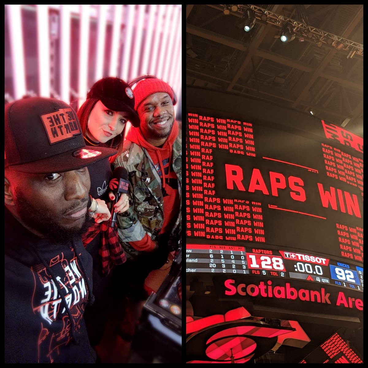 The band back together #wreckingcrew @matterofkat @4korners @strizzzy 🙌🏿 @raptors bounce back and get their 50th WIN! 128-92 over #Knicks @kyle_lowry7 says he will be good. Not to worry! #raptors next Home game Friday vs #okc   #WeTheNorth #toronto #the6ix #GoRaptors #lovemycity