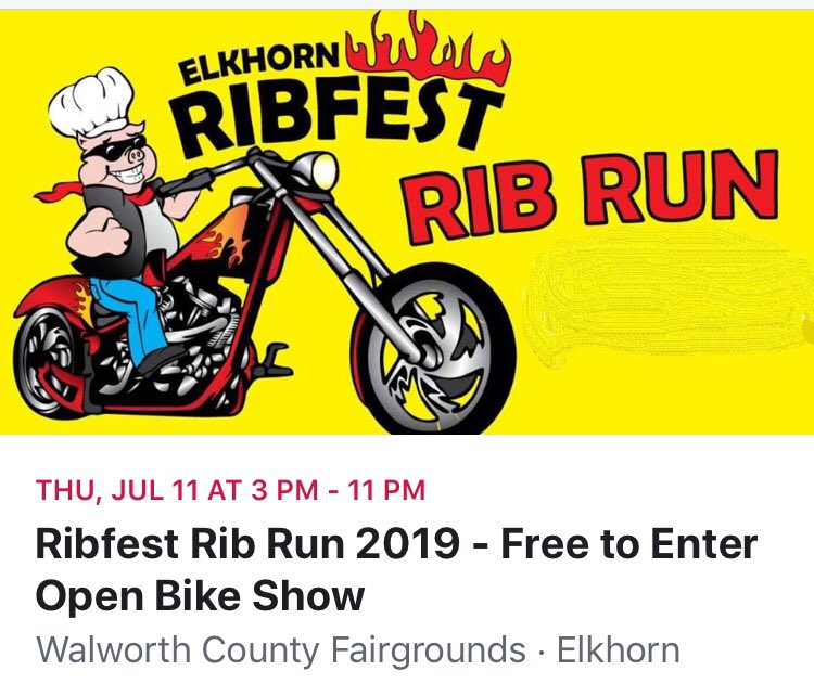 Rib Run Fun! Calendar this! #walworthcountyfairgrounds #elkhornwi #getyourmotorrunning #ribrun #elkhornribfest2019 #nicebike https://t.co/7Iyf14iktH https://t.co/2FFf4h2BVg