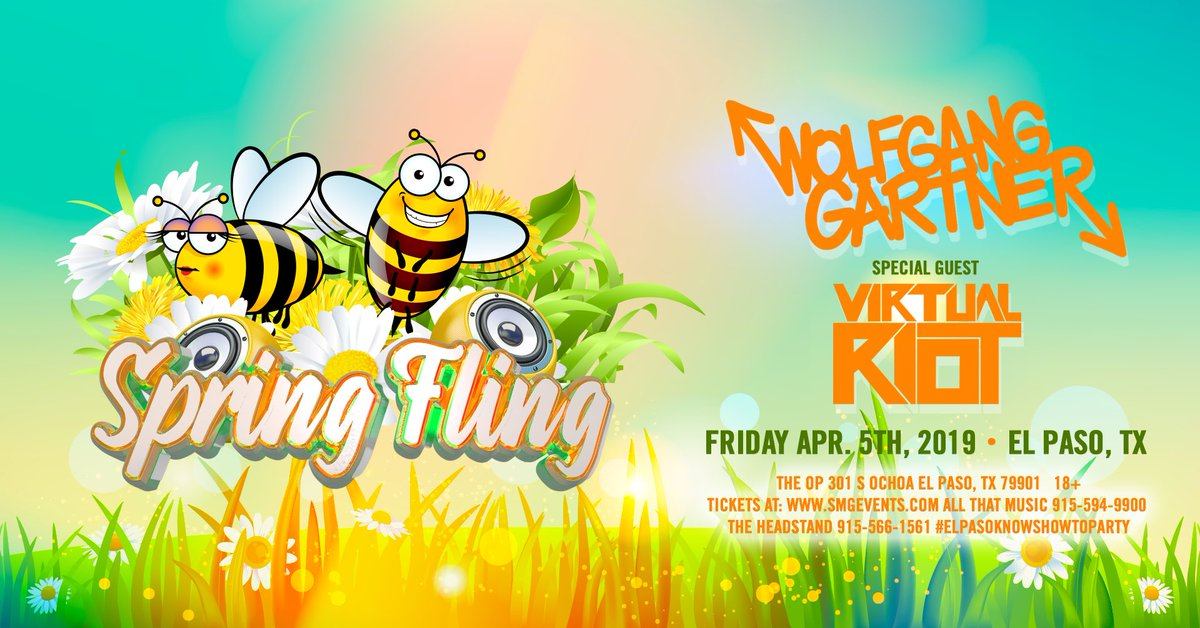 El Paso RT for a chance to win 2 tickets to #SpringFling w/@wolfganggartner & @Virtual_Riot at The OP!   🐝 Must follow  @SMGEVENTS  @TexasEDMFamily  Tickets: http://SMGEvents.Com