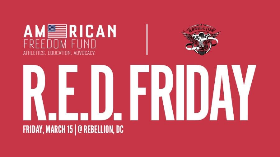 The @rebelliondc @AFFVeterans #REDFriday is just 5 days away! Join us for DC&#39;s hottest new monthly networking event on Friday, March 15th. Join us early as each registered attendee will all-you-can drink @HeroesVodka cocktails for the first hour with your donation.  <br>http://pic.twitter.com/MXo68I9xDd