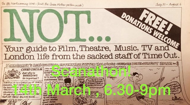 📠📸 Come to this month's Scanathon where we will be delving into publication from 1980s Time Out workers strike. Find out what a radical listings paper looked like before management sold out its workers and content⚡️14th March, from 6.30pm. More here- bit.ly/2CeKR7M