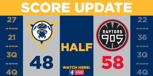 Halftime | Mad Ants 48, 905 58 @Pacers assignee @AlizeJohnson with 12 points and 7 rebounds @JovanMooring_30 with 12 points @iRob_G with 11 points and 4 assists #MadAboutBlue