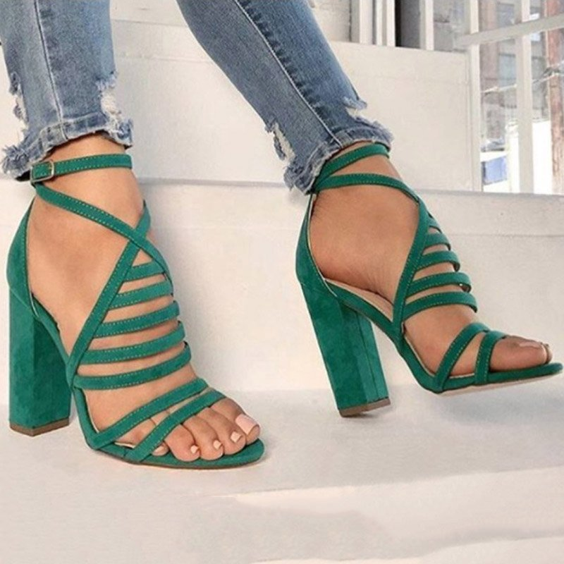 96b7d46b21 Ericdress Faux Suede Cross Strap Chunky Heel Women's Sandals  http://urlend.com