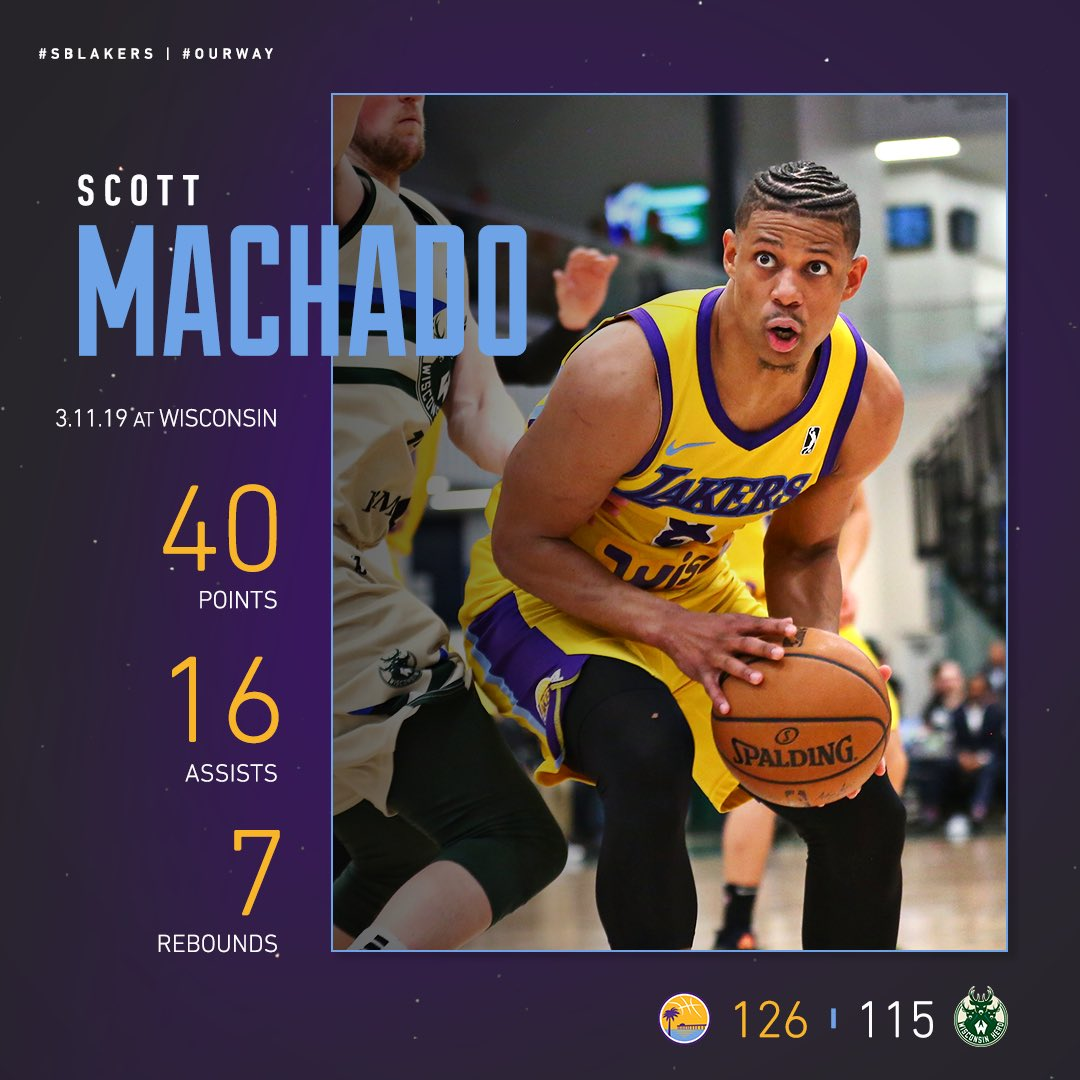 THIS MAN IS DIFFERENT 😤💪  @_ScottMachado drops 40 points in tonight's victory and is averaging 27.8 points and 10.8 assists in his last 5️⃣ @NBAGLeague games. #SBLakers