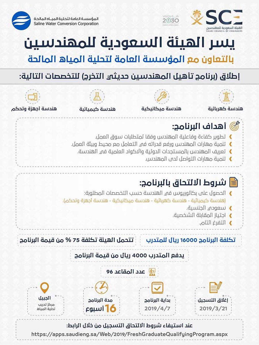 الهيئة السعودية للمهندسين On Twitter هيئة المهندسين تطلق برنامج تأهيل المهندسين حديثي التخرج بدعم يصل إلى 75 من قيمة تكلفة البرنامج في عدد من التخصصات الهندسية بالتعاون مع المؤسسة العامة لتحلية المياه المالحة
