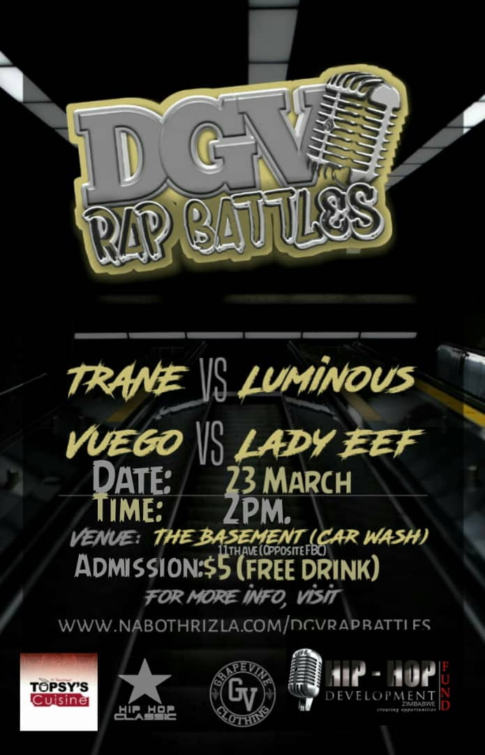 DGV rap battles #hiphopartist #rapbattles #Byofemale ,hope to see you there @ZimTainment @ZimHipHop @ZimHipHopAwards @ByoArtsAwards @nabothrizla @Hip_HopAfrica @BYOHIPHOPINDUS1 @HHPlugAfrica