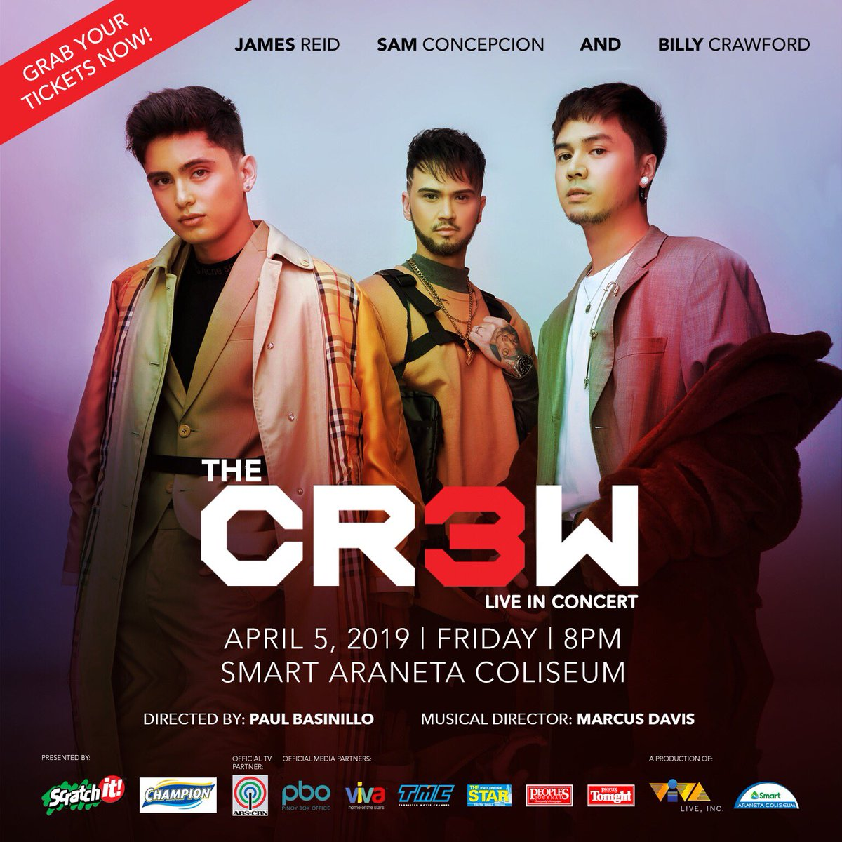 Join THE CR3W live in concert on April 5, 2019 at the Smart Araneta Coliseum!  with SPECIAL GUESTS: Yassi Pressman, Coleen Garcia, and; Nadine Lustre   For inquiries call TicketNet at 911-5555, or VIVA Live at 687-7236.  THE #CR3W<br>http://pic.twitter.com/lFt45kWehg