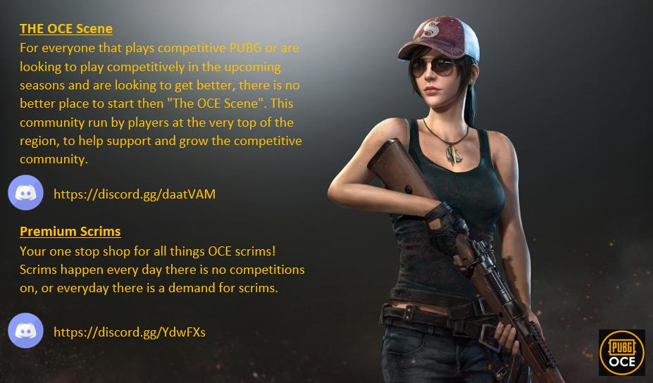 Want more competitive PUBG action?  Want to get into the competitive PUBG OCE scene?  Not sure where to start & who to talk to?  We've got you sorted and teamed up with two competitive OCE Discords, The OCE Scene & Premium Scrims, to help bring you all the competitive OCE action!