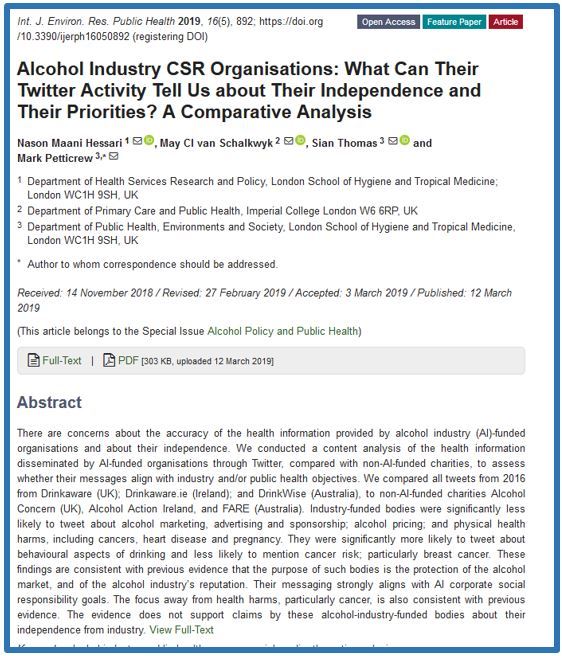 Our new paper led by @spidermaani: Alcohol Industry  CSR Organisations: What Can Their Twitter Activity Tell Us about Their  Independence and Their Priorities? A Comparative Analysis https://www.mdpi.com/1660-4601/16/5/892…