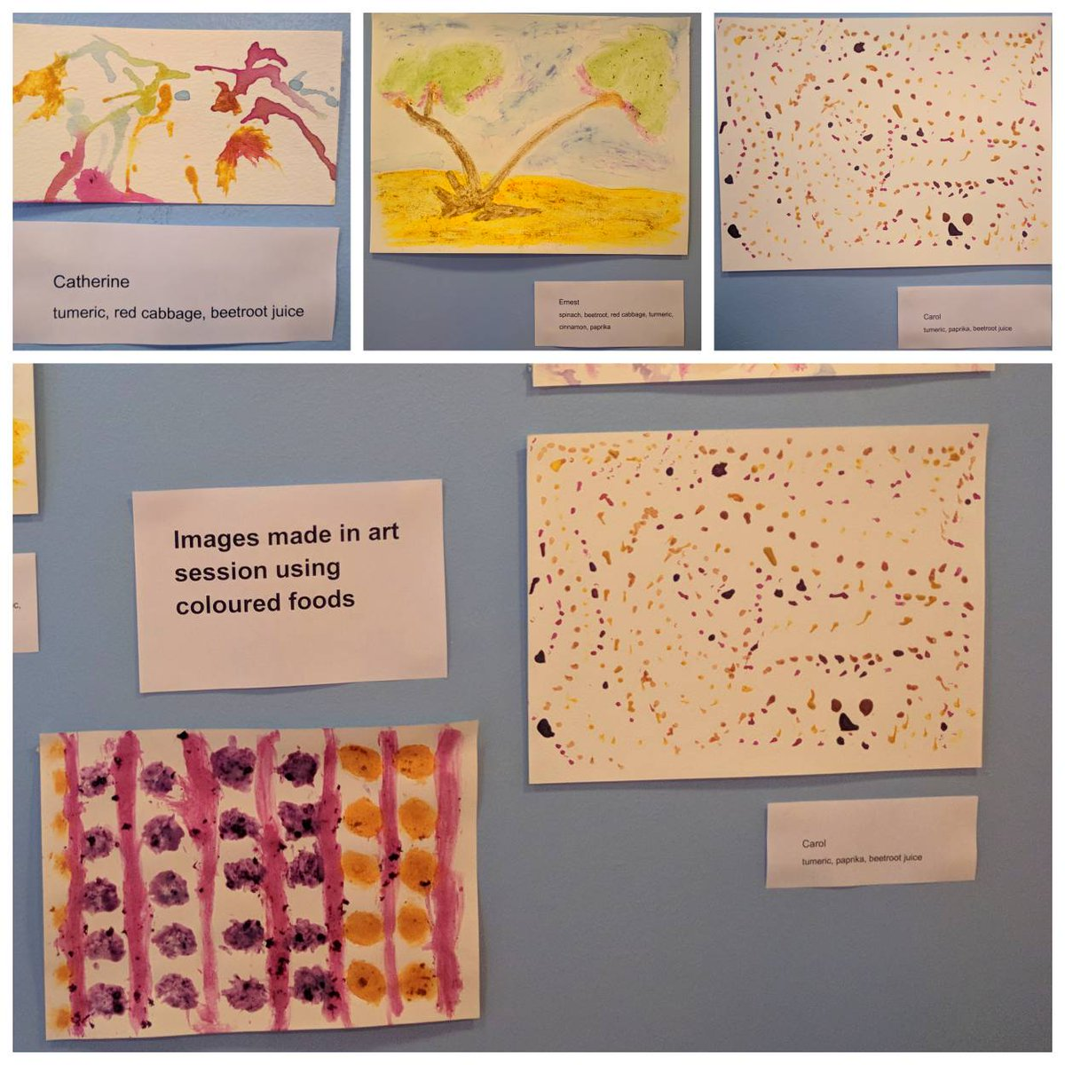 Our patients have been creating artwork using coloured foods and spices with our Art Teacher Bronwyn to celebrate Nutrition and Hydration Week. Using techniques ranging from dipping a paint brush into blackberries to rubbing spinach directly on the paper!