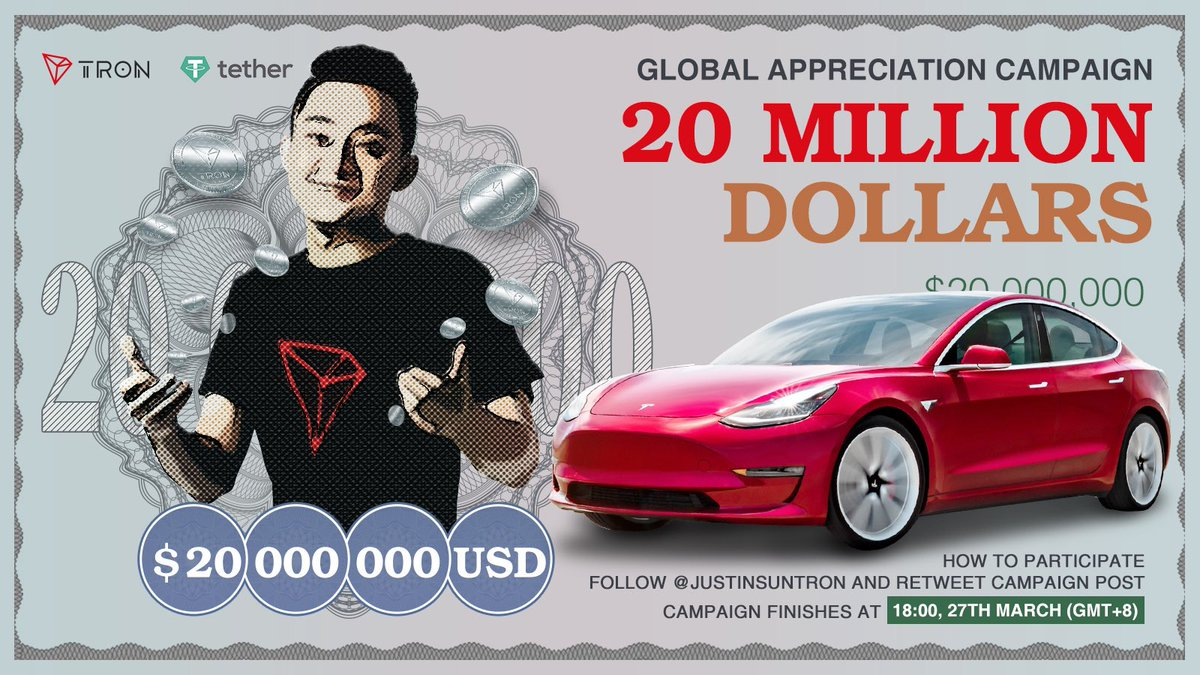 To celebrate #BTT & #USDT-#TRON success, I am planning a $20m free cash airdrop. Good news-it's coming, bad news-I may decide to give away more! First, I will randomly pick 1 winner for a #Tesla up until 3/27! To apply, follow me and RT this tweet! Simple! #Blockchain