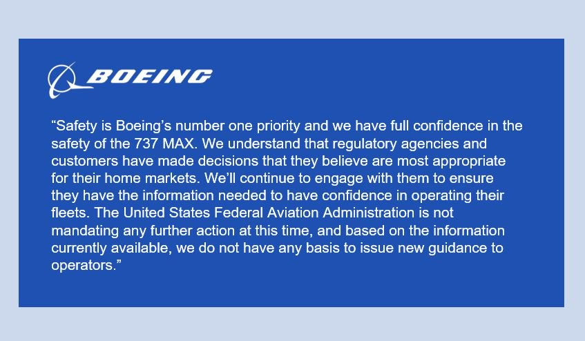 Boeing Statement on 737 MAX Operation: https://boeing.mediaroom.com/news-releases-statements?item=130403…