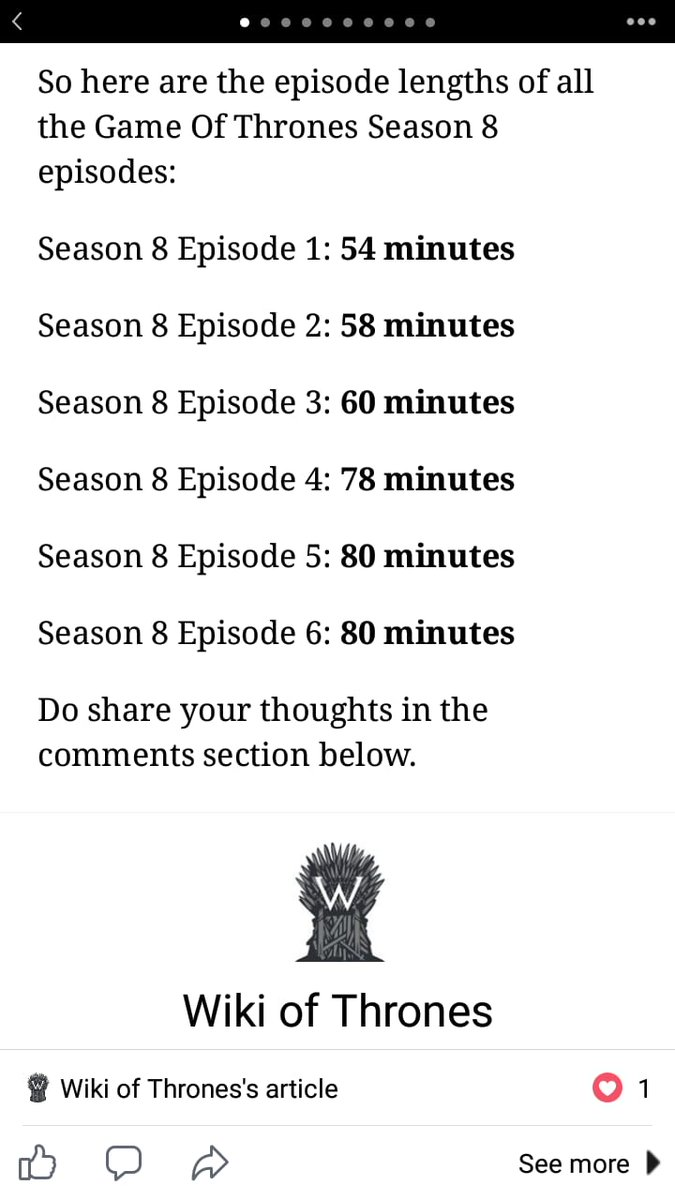 Game of thrones  episodes length