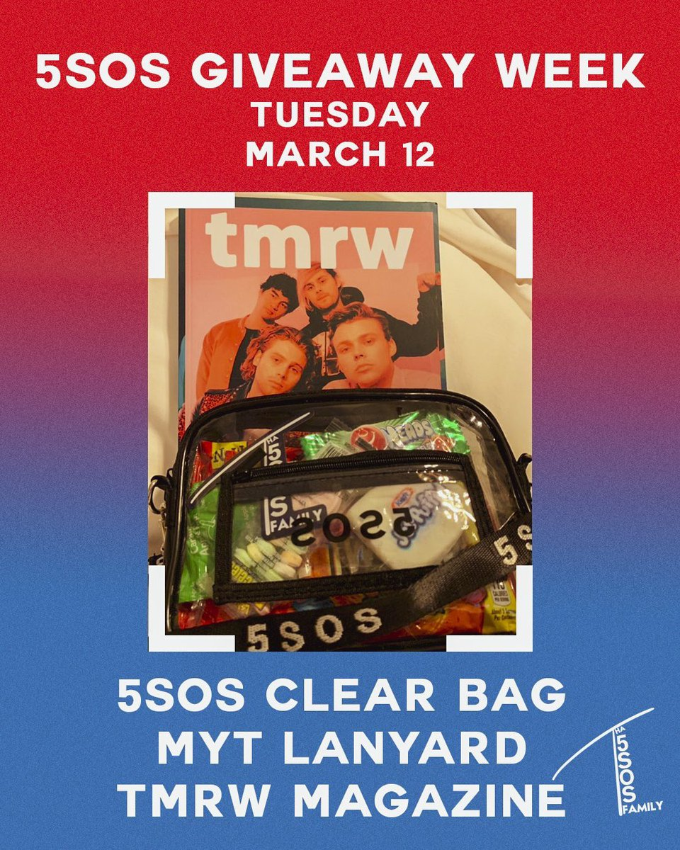 Congratulations to @ghostofcarolina for winning the day one 5SOS bag!  🚨GIVEAWAY WEEK DAY TWO🚨 starts now!  To win: • RT this tweet • Reply with #5SOSFam #BestFanArmy #iHeartAwards  • Must be following • Open internationally • Winner Announced this time tomorrow