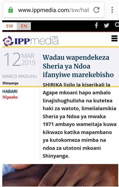 In our efforts to end child marriage, TECMN is supporting Agape organization in it's call to the Government to change the LMA which allows girls to get married at 15yrs @ValerieMsoka @umwalimu @FranceTanzania @FCSTZ @EUinTZ @CanadaTanzania @THRDCOALITION  https://www.ippmedia.com/sw/habari/wadau-wapendekeza-sheria-ya-ndoa-ifanyiwe-marekebisho…