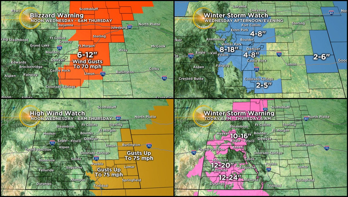 By tonight we expect almost everything except fire and brimstone in Colorado.  Currently we have a... Blizzard Warning Winter Storm Warning High Wind Warning Winter Weather Advisory Avalanche Watch Winter Storm Watch (includes Denver!) High Wind Watch  #CBS4Mornings #cowx #4wx<br>http://pic.twitter.com/ZpdNuayfuL