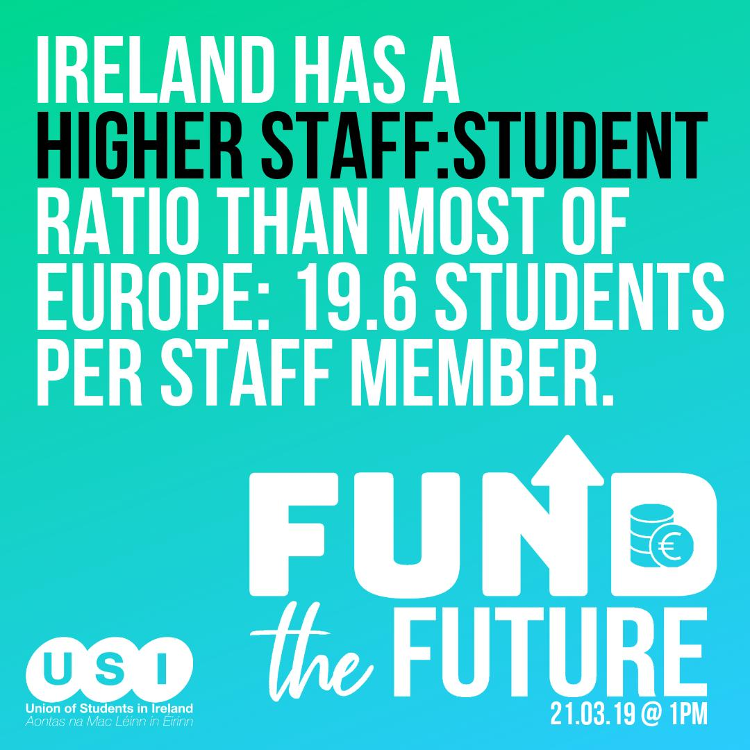 Ireland has a higher staff : student ratio than most of Europe at 19.6 students per staff member. On 21.01.19 we will take action in a country wide walkout to tell the Government that we need them to #FundTheFuture http://bit.ly/FundTheFutureUSI…  @SIPTU @forsa_union_ie @ifut @issu4u