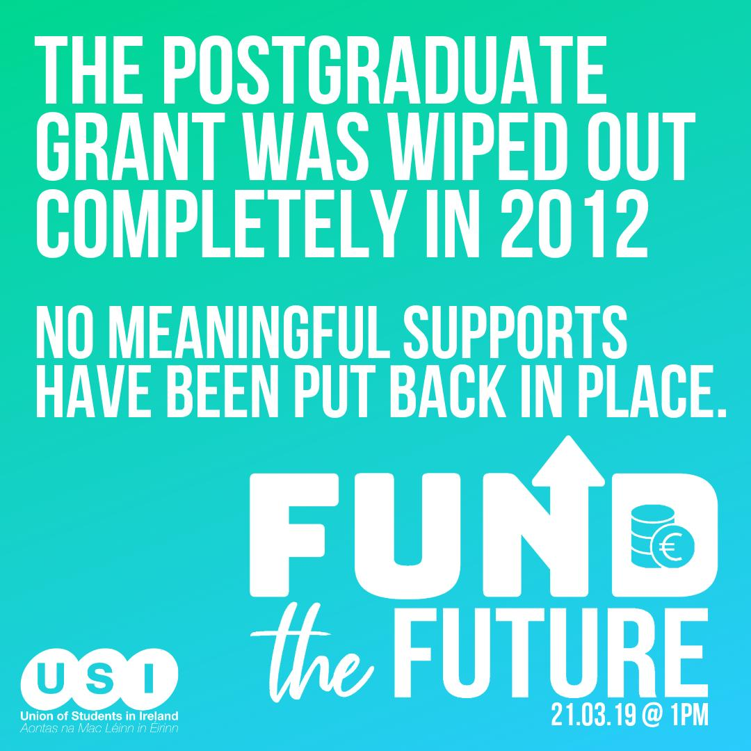 The Postgraduate grant was wiped out completely in 2012: no meaningful supports have been put back in place. It is issues like these that are deterring young learners to go on to study at level 9.  #FundTheFuture http://bit.ly/FundTheFutureUSI… @SIPTU @forsa_union_ie @ifut @issu4u