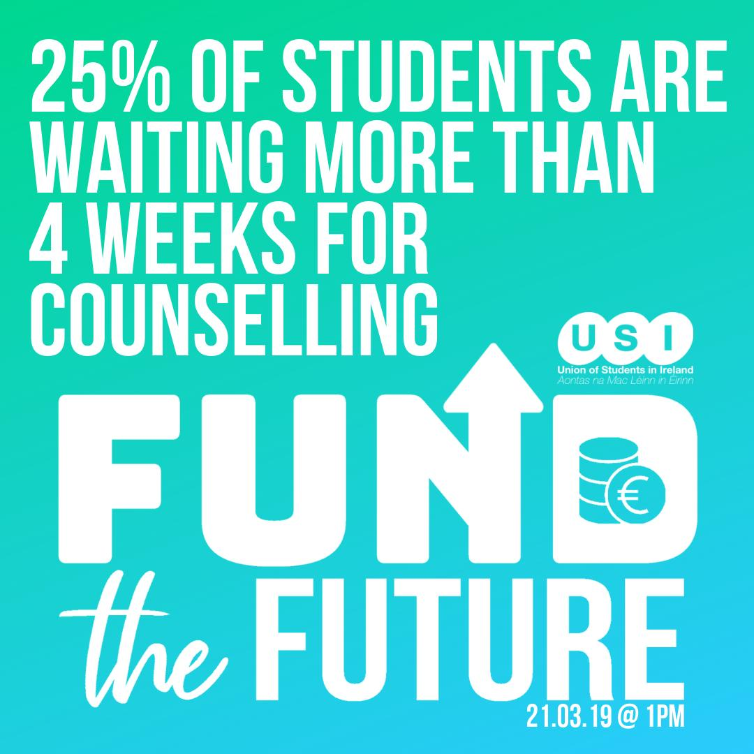 25% of students are waiting more than 4 weeks for counselling. The students who need support the most are being left behind by the system. We need immediate funding in our education #FundTheFuture http://bit.ly/FundTheFutureUSI… @SIPTU @ifut @issu4u @forsa_union_ie