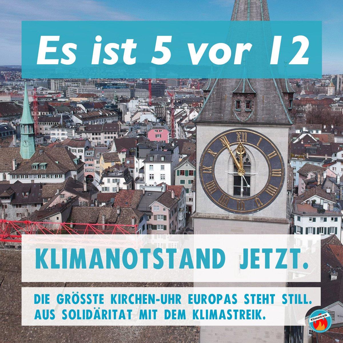 Seit dem Mittag steht die grösste Kirchen-Uhr Europas still. Aus Solidarität mit dem Klimastreik hat die St. Peterskirche in Zürich die Zeiger angehalten. Am 15. März alle auf die Strasse für sofortigen Klimaschutz! 🔥 #Klimastreik #strike4climate @FridayForFuture @GretaThunberg