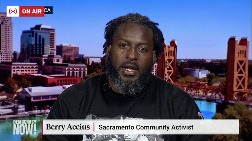"Sacramento activist @BerryAccius says the community is frustrated not only that the officers who killed Stephon Clark weren't charged, but also by the district attorney who ""decided to put Stephon Clark on trial for his own murder"" by painting him as a criminal. #DNlive"