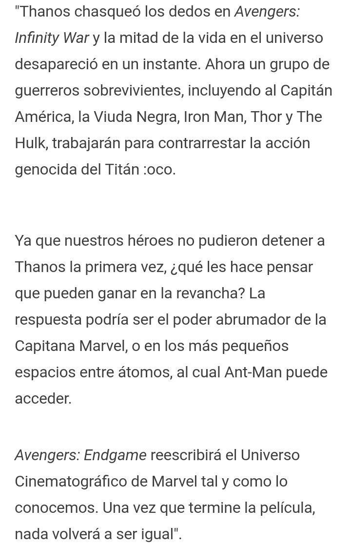 Nueva Sinopsis de #AvengersEndgame https://t.co/ZVqRrlUICX