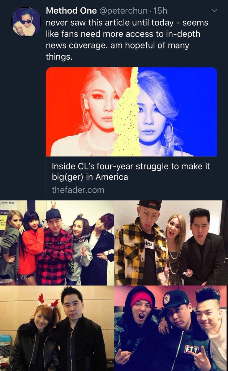 "Peter Chun อดีต Business Director ค่าย YG ในอเมริกา ทวีตถึงบทความหัวข้อ ""ความพยายามถึง 4 ปีของ CL ในการทำอัลบั้มที่อเมริกา""  Peter Chun: ไม่เคยเห็นบทความนี้เลยจนกระทั่งวันนี้ -ดูเหมือนแฟนๆจะต้องการรู้ข่าวเชิงลึกมากกว่านี้ ผมก็หวังกับอะไรหลายๆสิ่ง..  (บทความปล่อยในวันเกิดCLปี2018)"