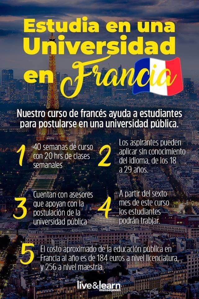 😉 ¿Te gustaría estudiar en una universidad de #Francia? Tenemos un programa que te prepara para aplicar a una de estas universidades públicas. 🇫🇷👨🎓 Entra a 👉 https://t.co/vsG2ftyKqh para más información. 👩💼 https://t.co/PzLUb1uf4O