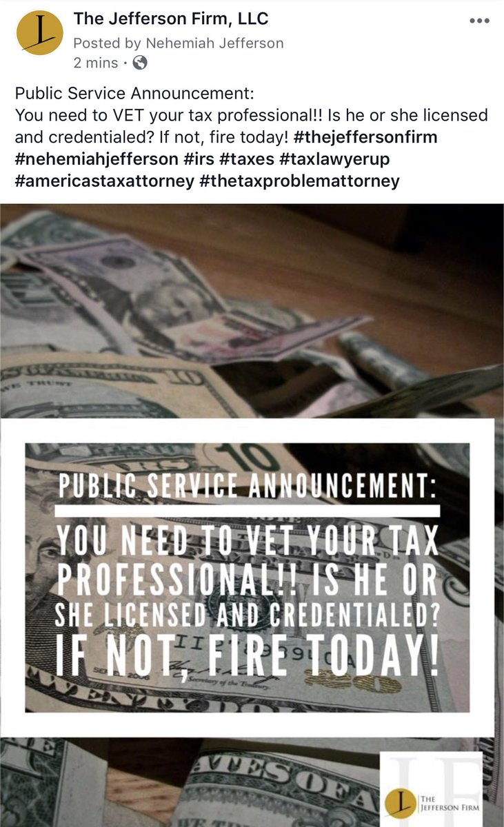 Public Service Announcement: You need to VET your tax professional!! Is he or she licensed and credentialed? If not, fire today! #thejeffersonfirm #nehemiahjefferson #irs #taxes #taxlawyerup #americastaxattorney #thetaxproblemattorney