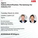 Per Erik Holsten et Katrine Hilmen d'ABB présenteront leur nouvelle solution d'énergie #innovative #subea à CERAWeek Agora aujourd'hui à 2: 00pm. Rejoignez live à #CWAgora.
