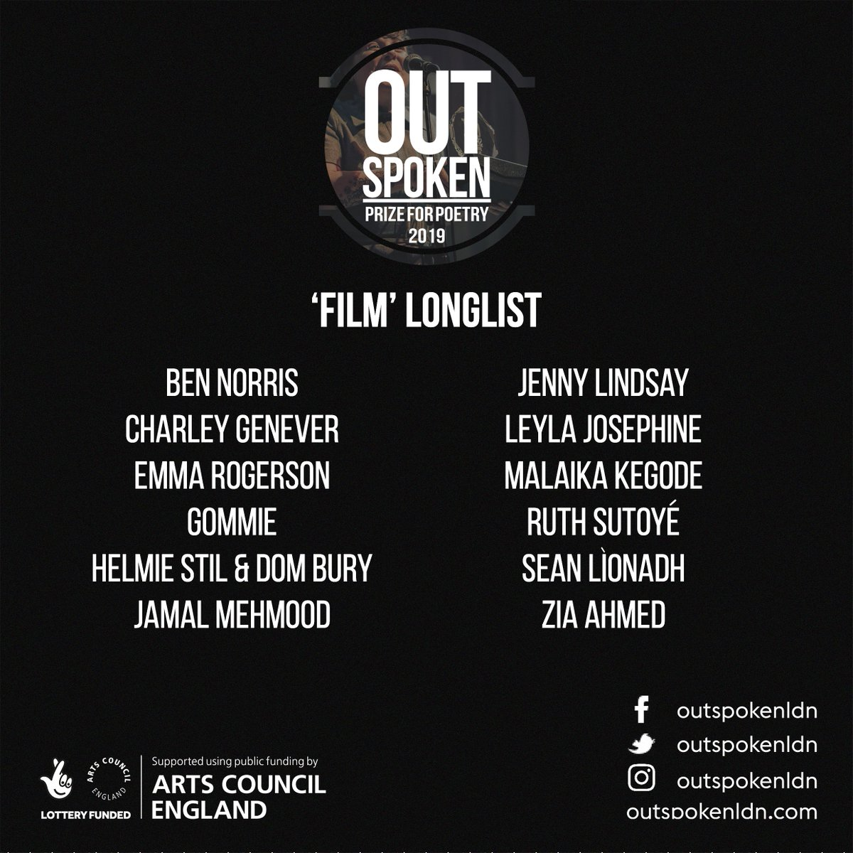 The Longlist for the category of 'Film'. The 'Performance' longlist will be announced tomorrow, & 'Page' the following day #pfp2019