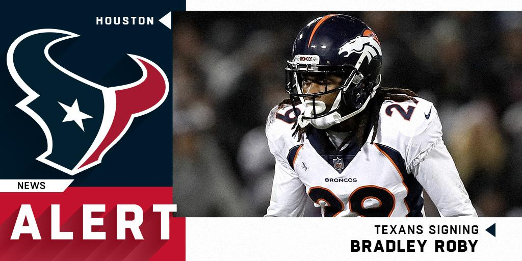 .@HoustonTexans signing CB Bradley Roby to one-year, $10 million deal.  (via @JamesPalmerTV) https://t.co/VfroOC7OIx