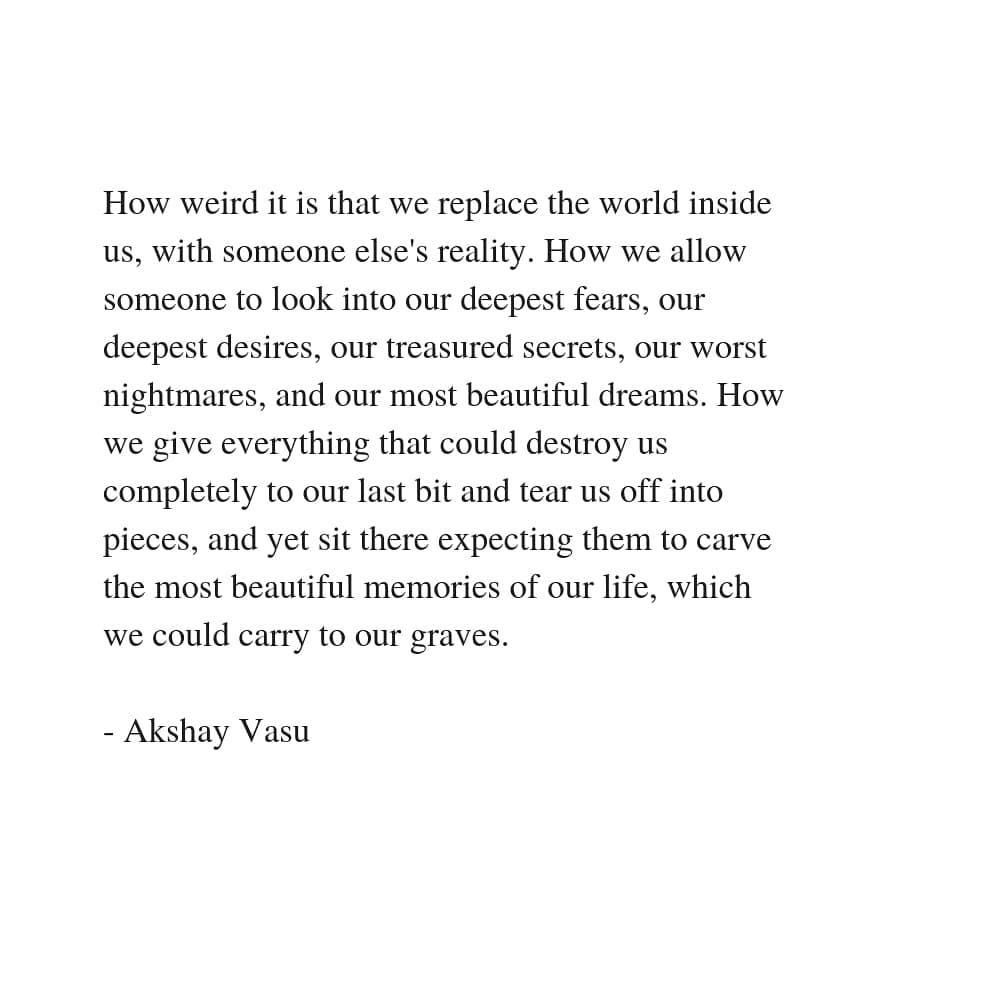 akshay vasu on replacing the world world nightmares