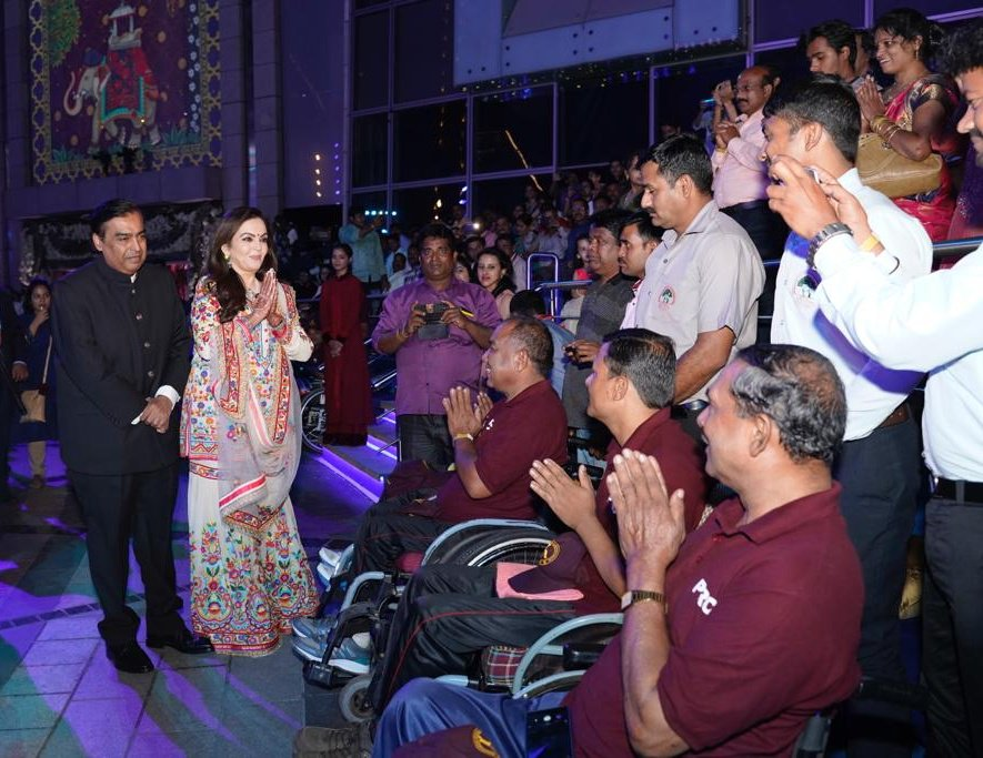 Nita and Mukesh Ambani celebrate their son's wedding with the protectors of the nation