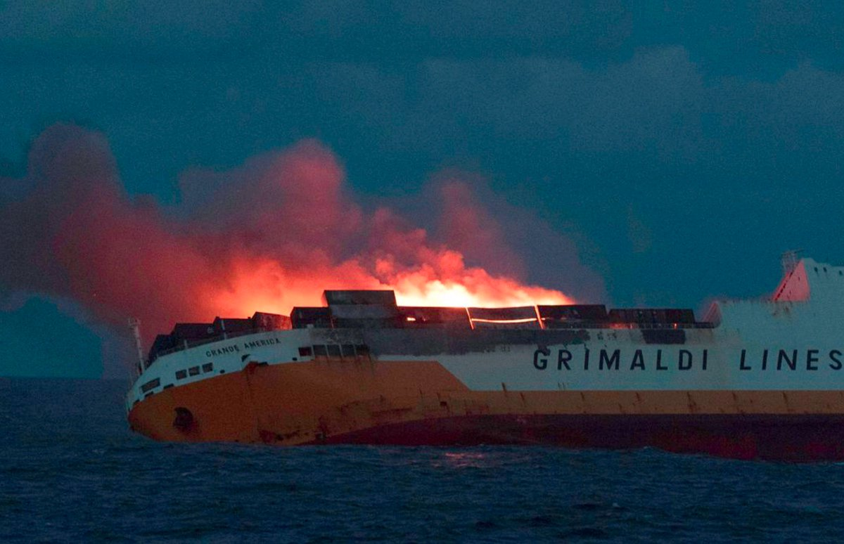MV Grande America has just sunk in about 4,600 meters of water, 180nm west of the French Coast.  Pollution risk and floating wreckage potential hazard to navigation in Bay of Biscay.