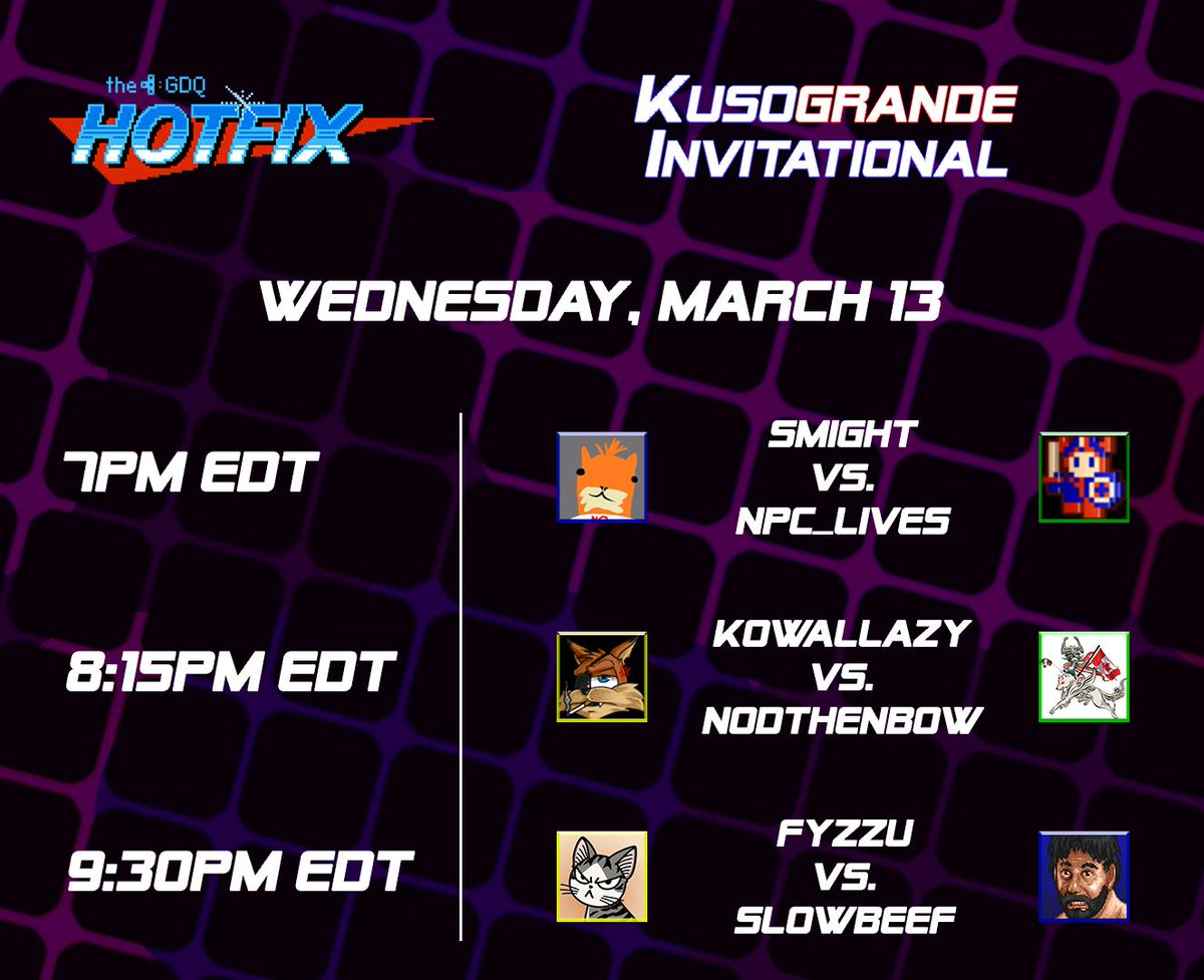 We&#39;ve got another @Kusogrande Invitational stream tomorrow on @GamesDoneQuick&#39;s GDQ Hotfix! Can&#39;t wait to see what kind of pain will be on display. <br>http://pic.twitter.com/PMg3S8k2QP