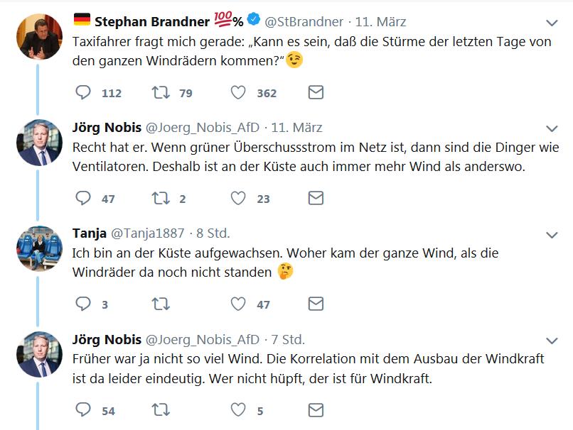 Windräder wirken wie Ventilatoren - deshalb gibt's an der Küste so viel Wind! 🤣🤣🤣  Ich dachte erst, Jörg Nobis macht einen mäßig lustigen Scherz. Aber der meint das ernst!  Nobis ist #AfD-Landtagsabgeordneter.
