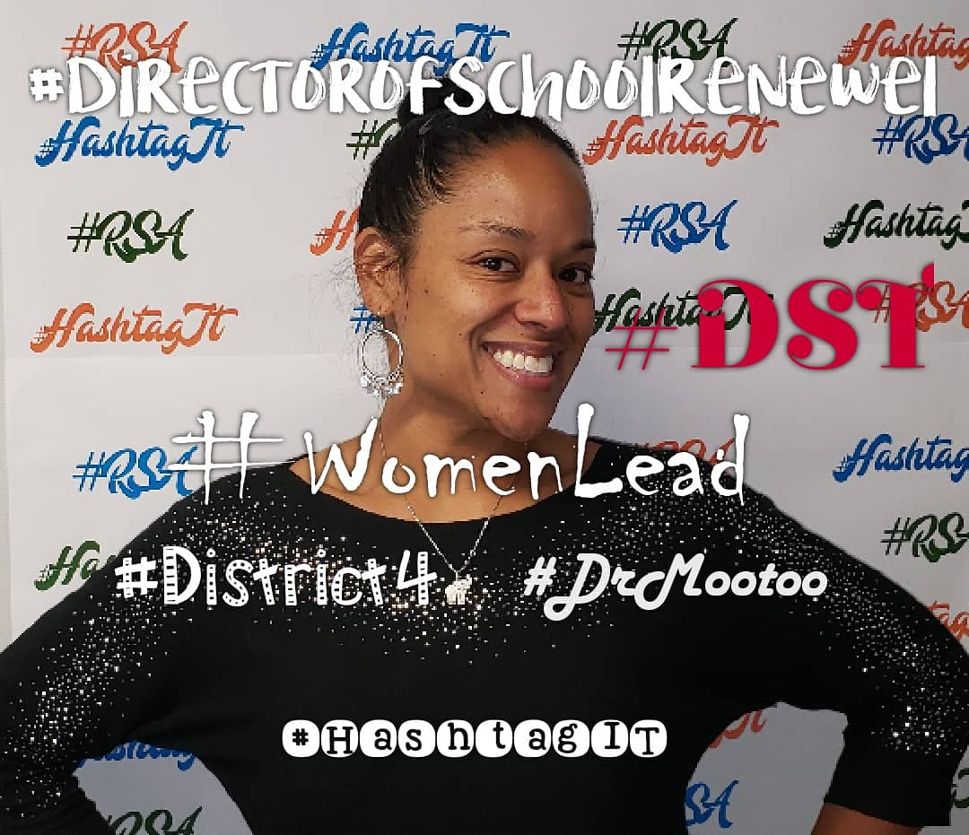 Our Director of School Renewal, is a definitely part of the #RSAfamily  She is a such a great #support 🥰 5 of the many positive hashtags WE use to describe her... #DrMootoo #DST #WomenLead  #DirectorofSchoolRenewel #District4 💙💚🧡 We love you! #HashtagIT  #Champions4Children – at Renaissance School of the Arts