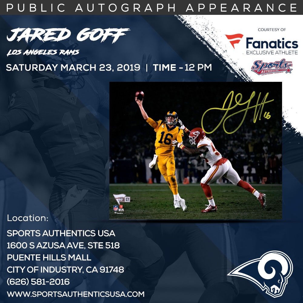 #LARams fans: I'll be signing autographs on Sat. March 23 Sports Authentics USA c/o @Fanatics. For tix - https://sportsauthenticsusa.org/?olsPage=products%2Fjared-goff …