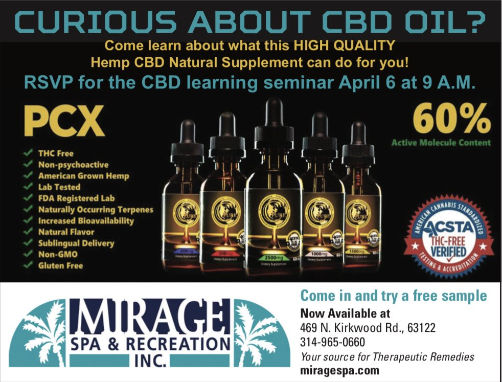 What is CBD?  A class on April 6 at 9:00 am - 11:00 am held @Miragespa_stl . Learn, ask questions, try a sample or talk to someone who has tried it. We welcome all. RSVP on Facebook at either St Louis CBD or Mirage spa. #cbd #cbdoil #cbdcream #cbdhelps #cbdclass #learnaboutcbd