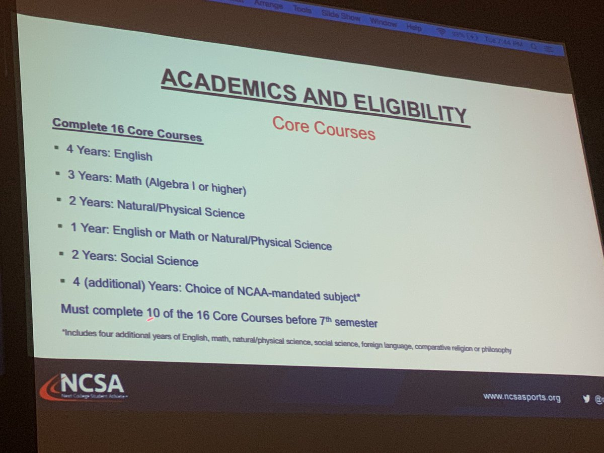 Make sure your credits meet NCAA core courses if you want to play sports in college