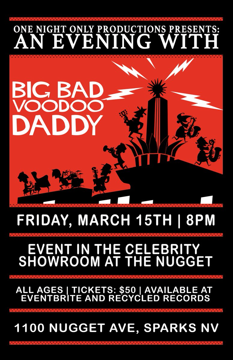 Sparks, NV!!!  Get your tickets to see Big Bad Voodoo Daddy LIVE in concert March 15th, 2019 at the Nugget Casino Resort ( @SparksNugget ) in Sparks, NV.  Get tickets and more information here: https://bit.ly/2IryJ9g  #25yearsofbbvd #swingmusic #bbvdtour2019