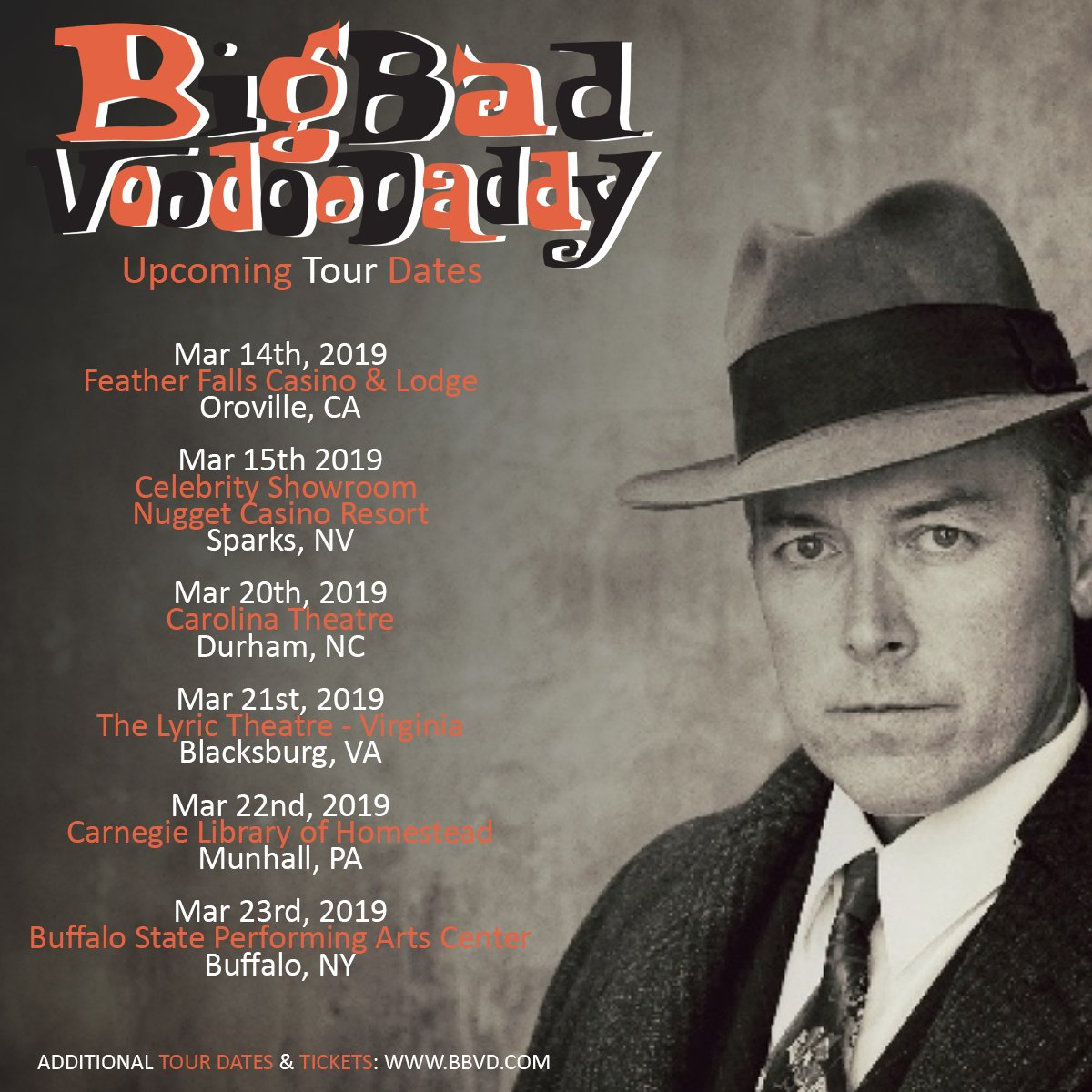 Upcoming @BBVD Tour Dates!  Get tickets and more info here: http://www.BBVD.com  #25yearsofbbvd #swingmusic #bbvdtour2019