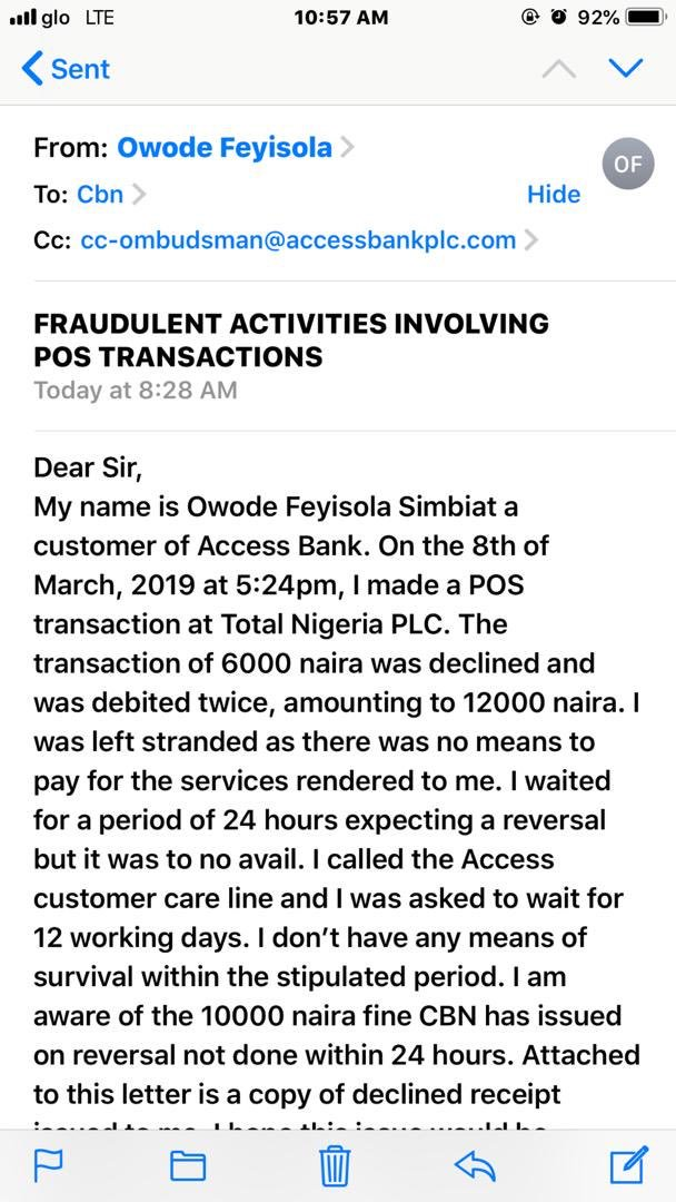 My sister's access card was declined but they still debited her twice , She called access bank then they told her she had to wait 12 working days . Mama sent a mail to CBN and copied them in the mail😂😂. They reversed it 10 mins after. These banks are just deliberately mad 😂