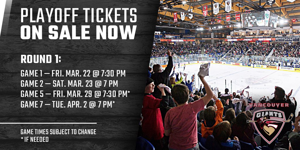 2442ea42d 2019 Giants Playoff Tickets are ON SALE NOW!! Round 1 Single Game Tickets   http   vancouvergiants.com tickets For Playoff Packages and to secure your  seats ...