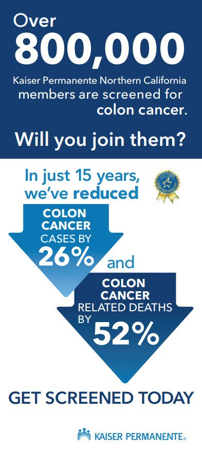 800,000+ @KPNorCal members have been screened for #coloncancer. Will you join them? All ?s answered during #GetScreenedChat Fri, 3/15, 11 am PDT/2 pm EST. #ColorectalCancerAwarenessMonth @NCCRTnews #80inEveryCommunity @ACS_California