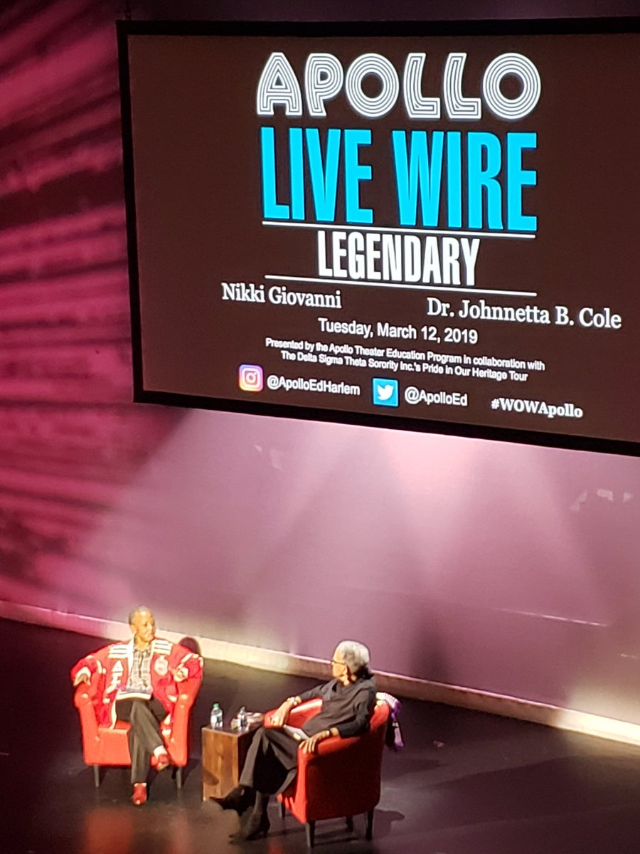 In the presence of greatness. Listening to #NikkiGiovanni and #johnettabcole shed light and insight.  #WomenWhoWow #WowApollo #womenshistorymonth