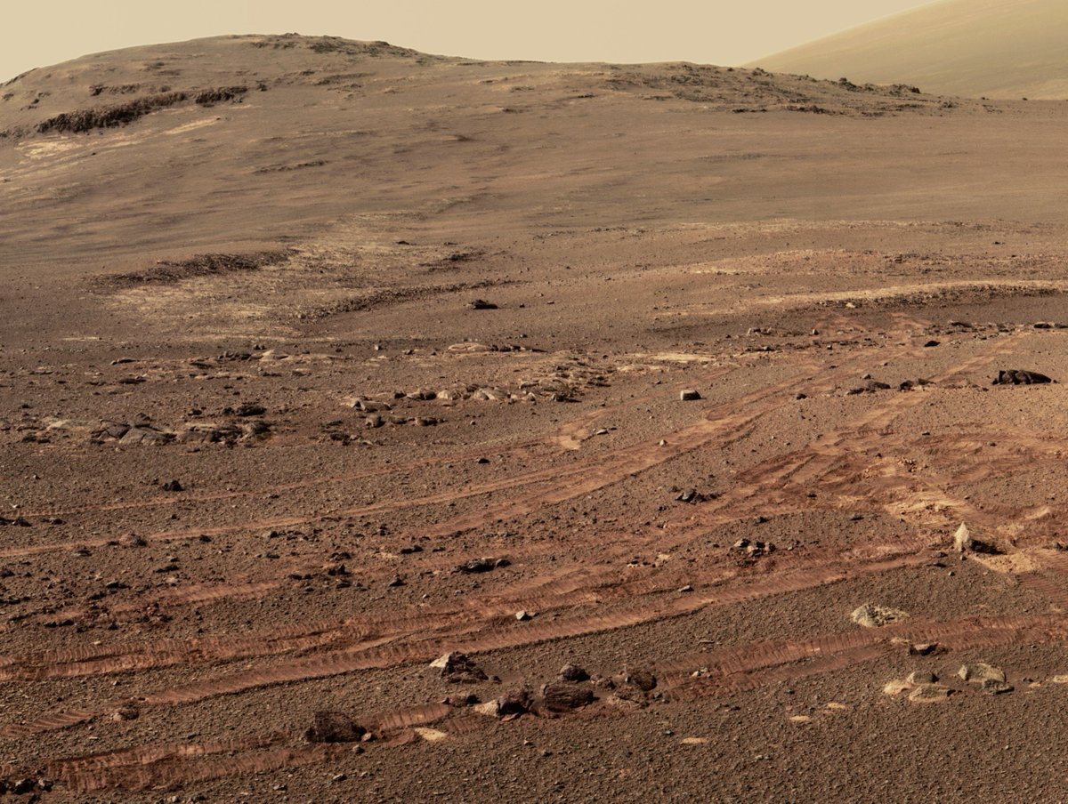 The Undiscovered Country  Opportunity's final image mosaic from #Mars shows the mission's last tracks and pristine terrain waiting for visits from future explorers.  See the full high-resolution panorama at https://go.nasa.gov/2F7JWbn